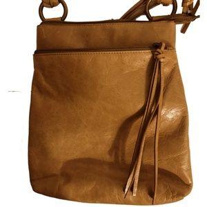 Hobo Crossbody Bag Tan Vtg Hide Braided Straps
